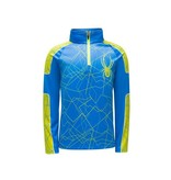 SPYDER MINI LIMITLESS CHALLENGER ZIP T-NECK - FRENCH BLUE/BRYTE YELLOW