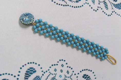 8/14 6-9pm Round Beaded Right Angle Weave Bracelet
