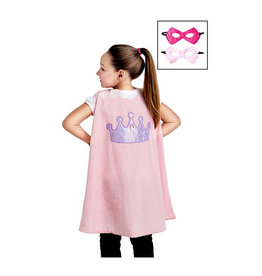 Little Adventures Pink Crown Cape and Mask Set