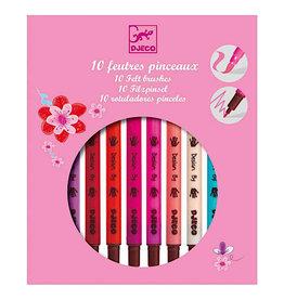Djeco 10 Felt Tip Brush Pens - Sweet