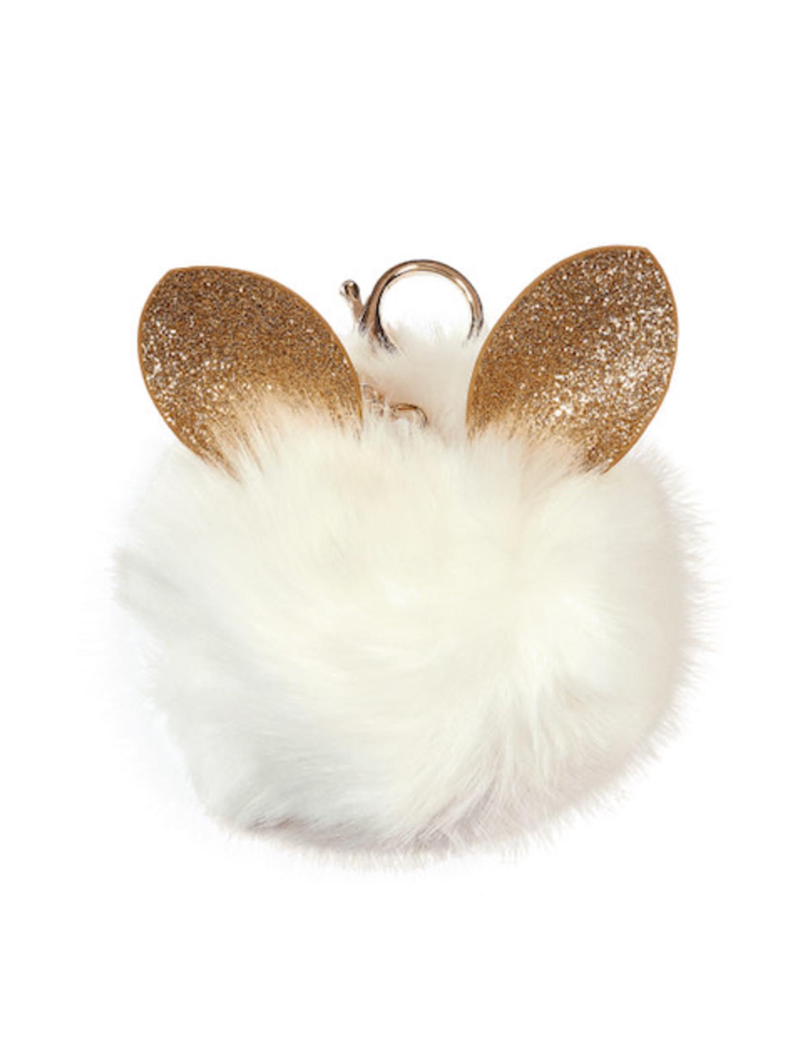 Iscream White Glitter Ears Pom-Pom Clip