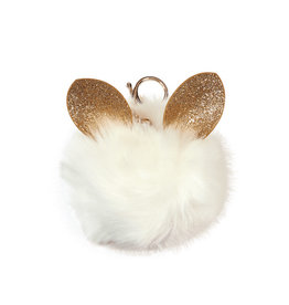 Iscream White Glitter Ears Pom-Pom Clip