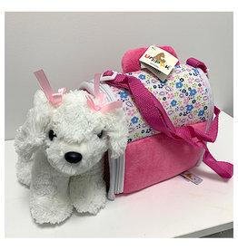 "Unipak Design 8"" Maltese in Pink Carrier"
