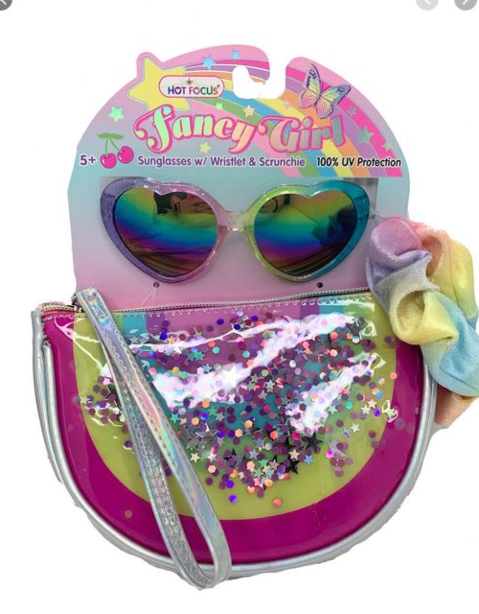 Hot Focus Fancy Girl Sunglasses w/Wristlet & Scrunchie, Rainbow
