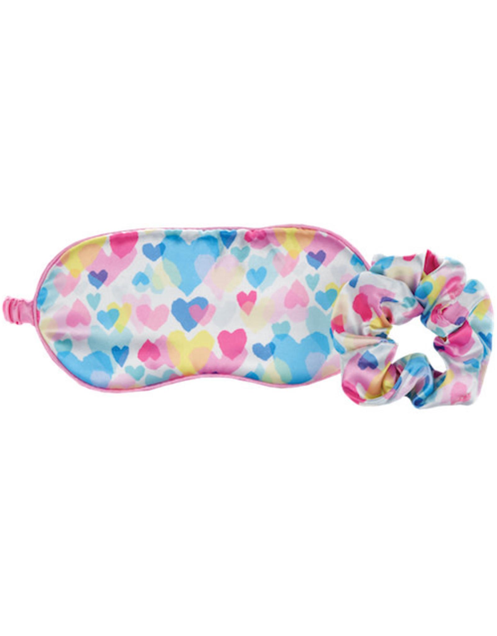 Iscream Pastel Hearts Silk Eye Mask / Scrunchie Set