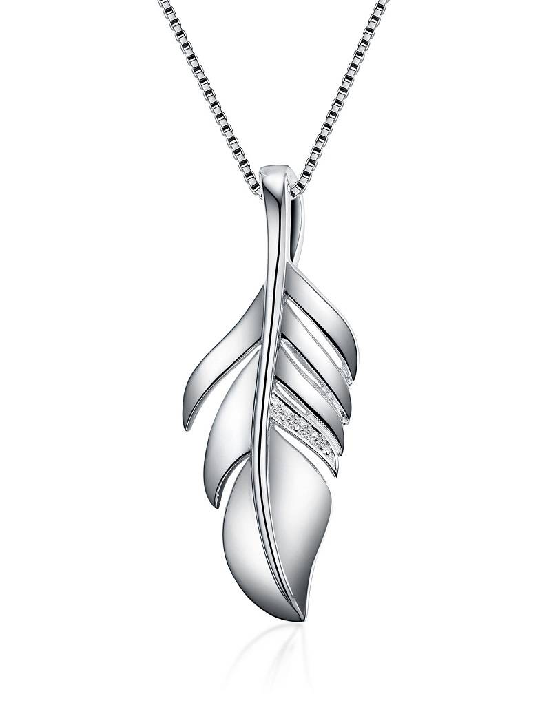 Feather Diamond Necklace 18""