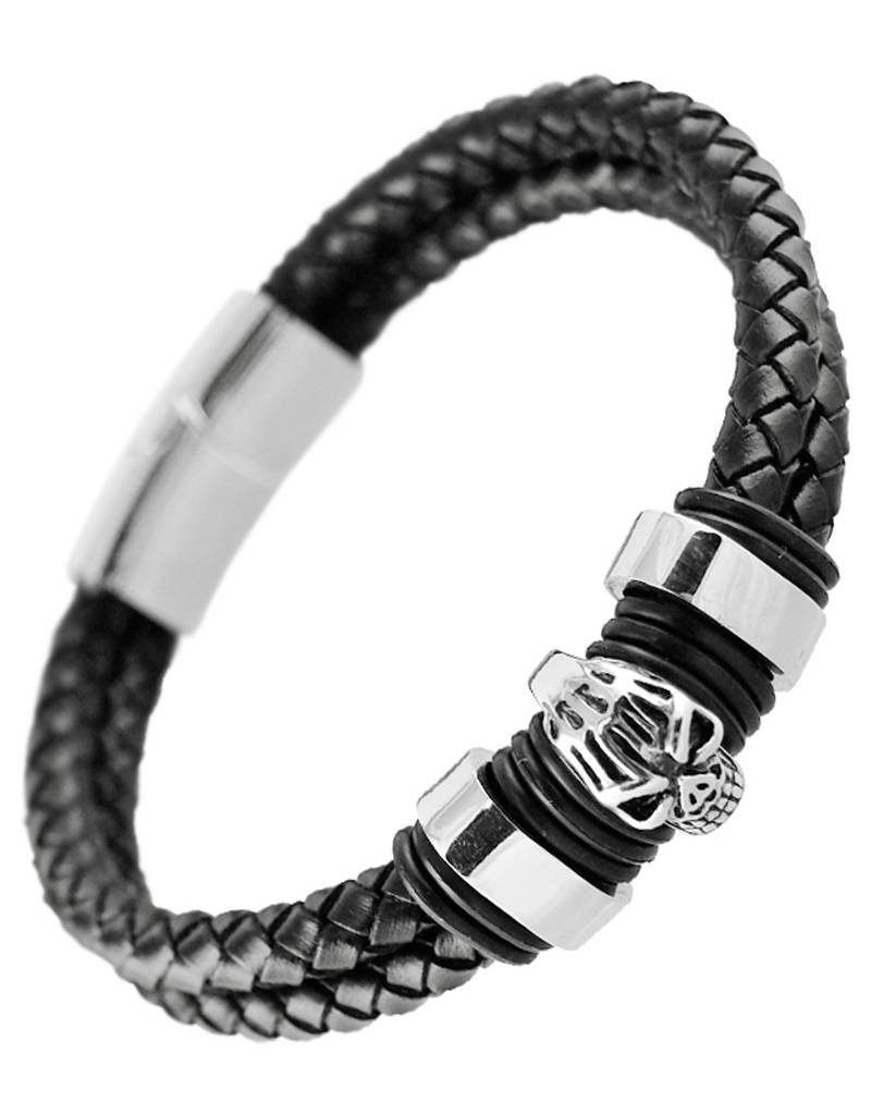 Double Strand Braided Leather Stainless Steel Skull Bracelet 8.5""