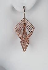 Sterling Silver Multi Square Wire Dangle Earrings with 14k Rose Gold Vermeil Finish 39mm