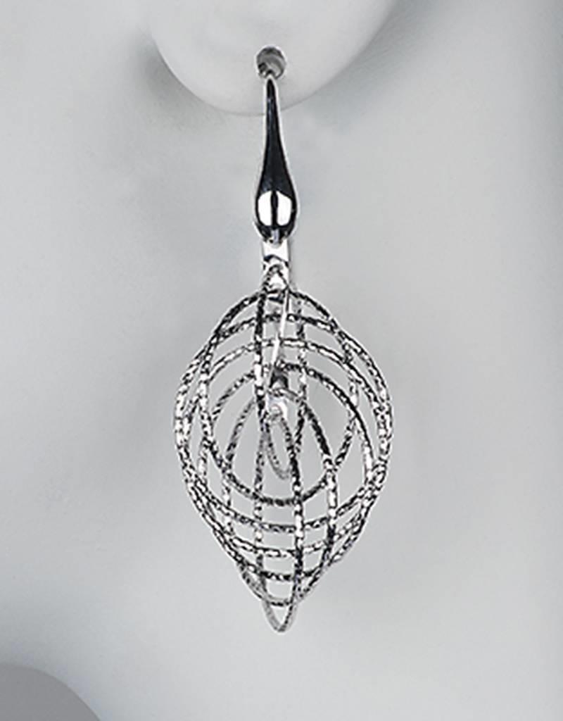 Sterling Silver Multi Ring Dangle Earrings 38mm