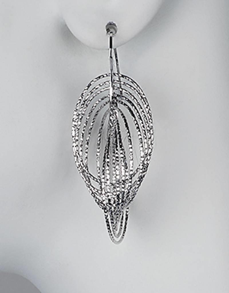 Sterling Silver Multi Oval Ring Earrings 57mm