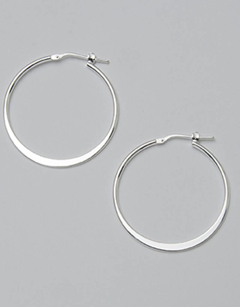 Sterling Silver 30mm Graduated Flat Hoop Earrings
