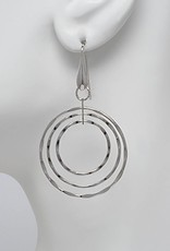 Sterling Silver 3 Ring Hammered Earrings 36mm