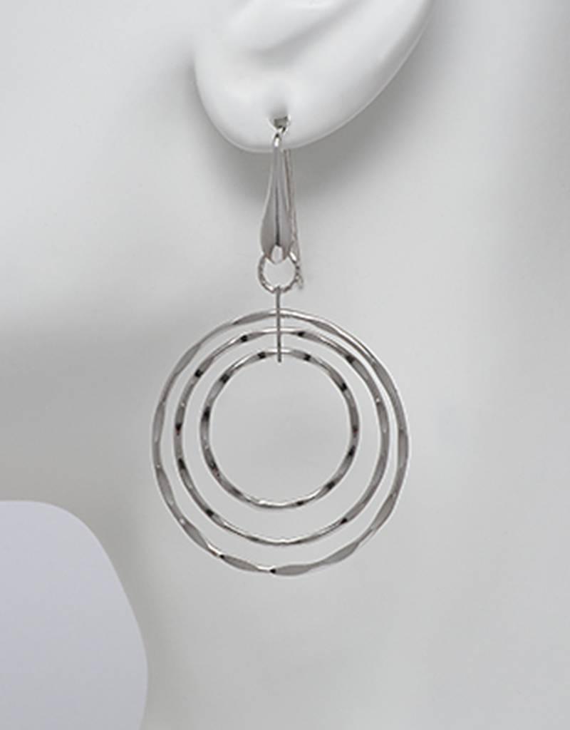 3 Ring Hammered Earrings 36mm