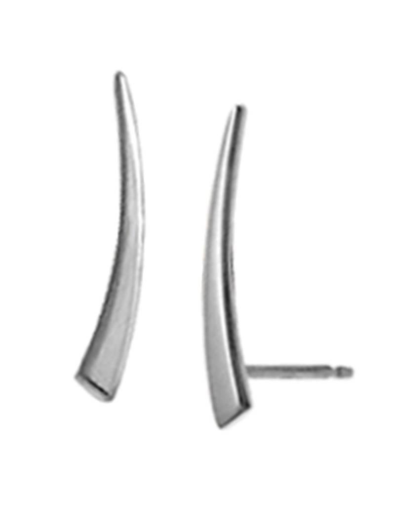 Sterling Silver Curved Ear Climber Post Earrings 15mm