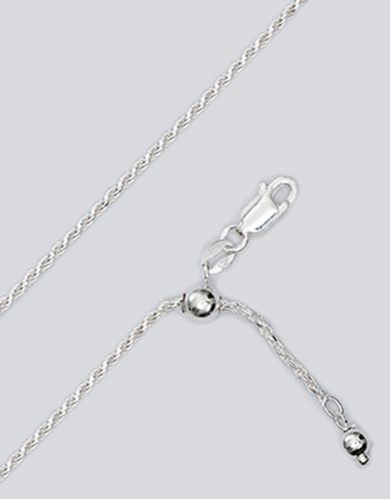"""Sterling Silver Adjustable Diamond Cut Rope 035 Chain Necklace 22"""""""