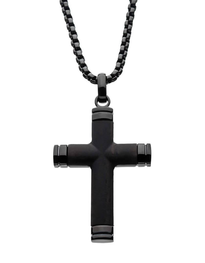 "Ebony Wood Cross Necklace 24"""