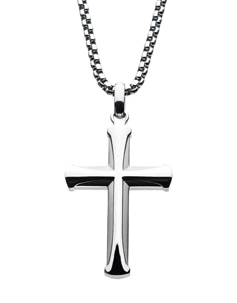 Men's Stainless Steel Apostle Cross Necklace 24""