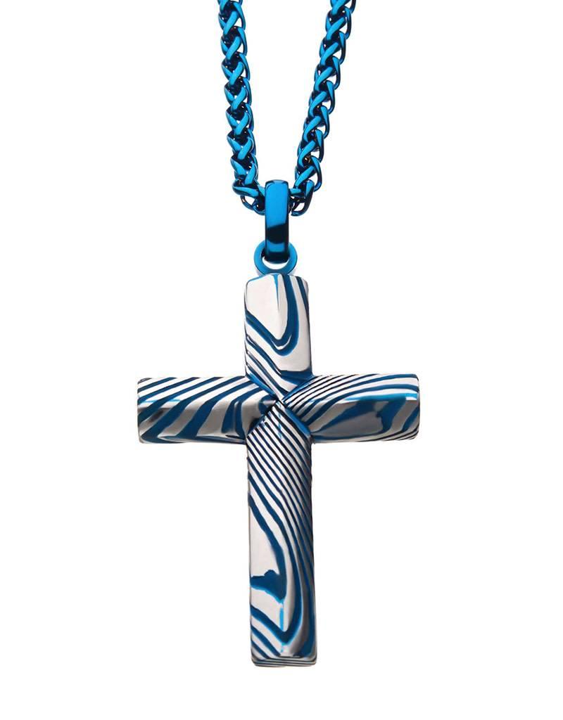 "Blue Damascus Cross Necklace 24"""