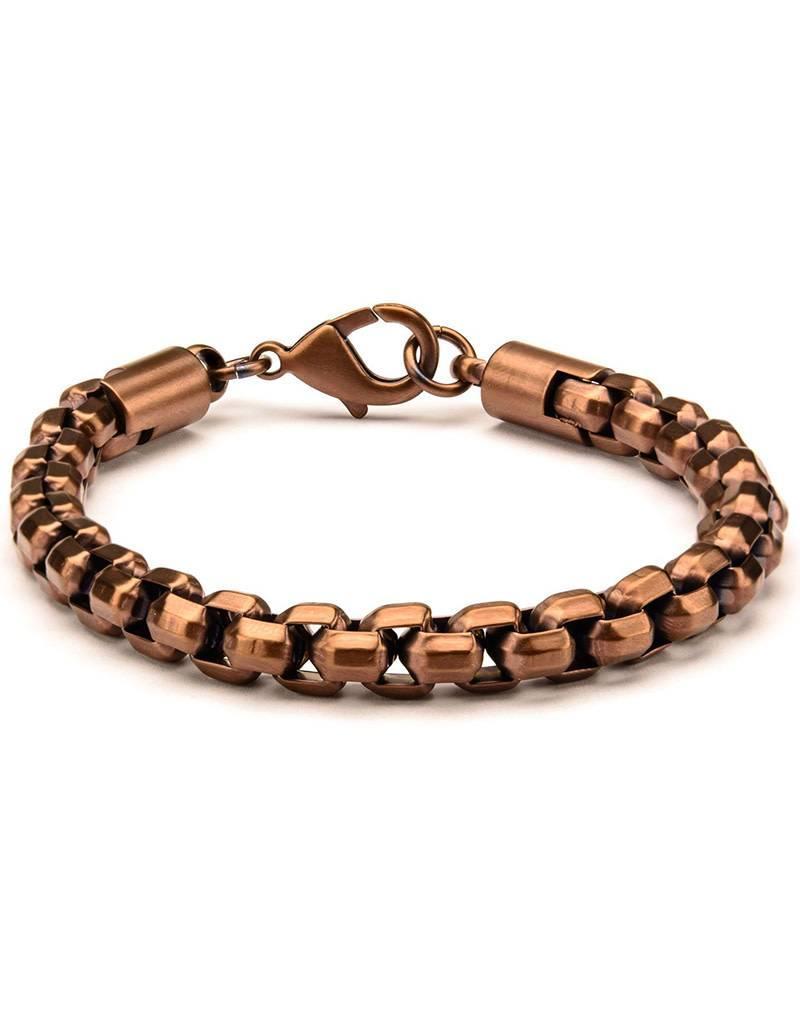 """Men's Stainless Steel 8mm Rose Gold IP Box Chain Bracelet 8.5"""""""