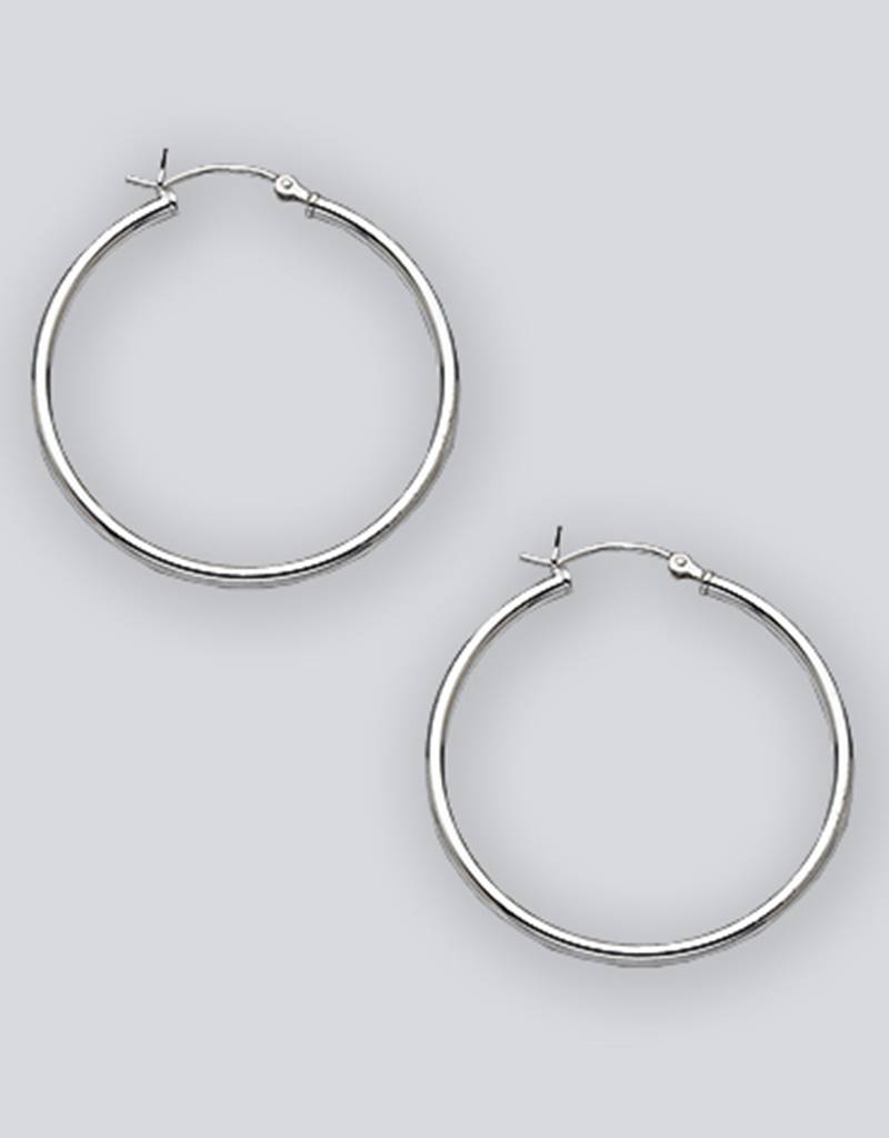 35mm Round Plain Hoop Earrings