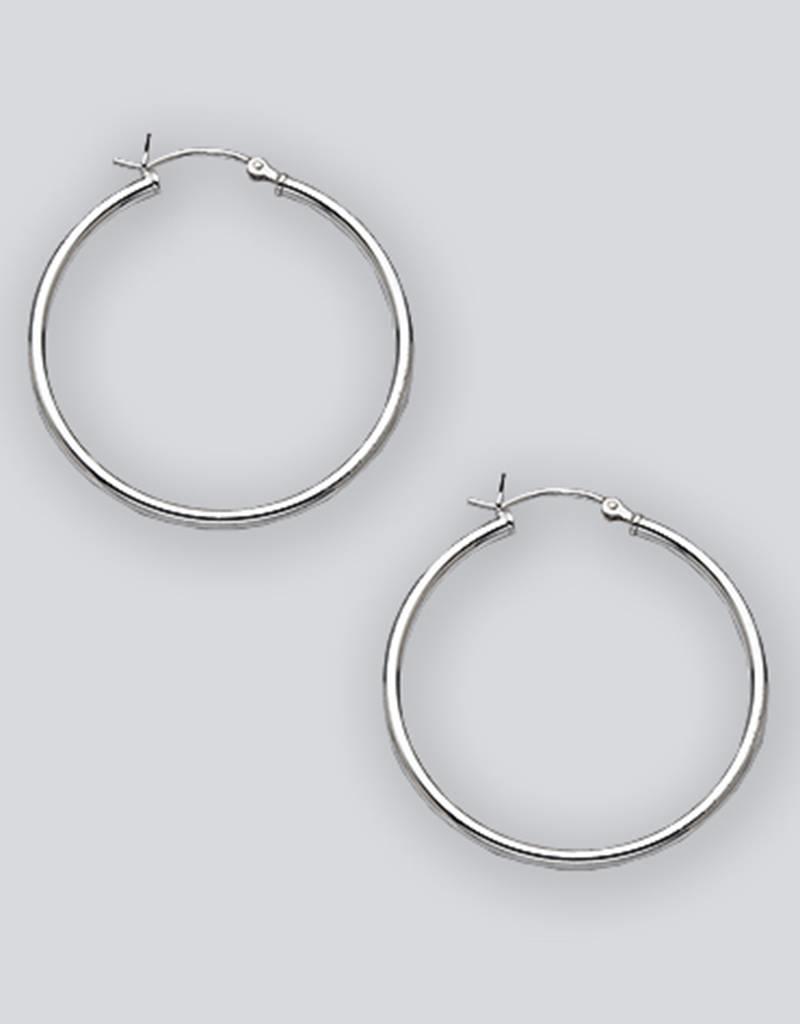 Sterling Silver Round Plain Hoop Earrings 35mm