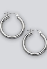 Sterling Silver Round Plain Hoop Earrings 28mm