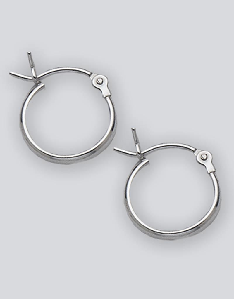 Sterling Silver Half Round Plain Hoop Earrings 12mm