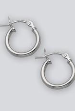 Sterling Silver Round Plain Hoop Earrings 12mm