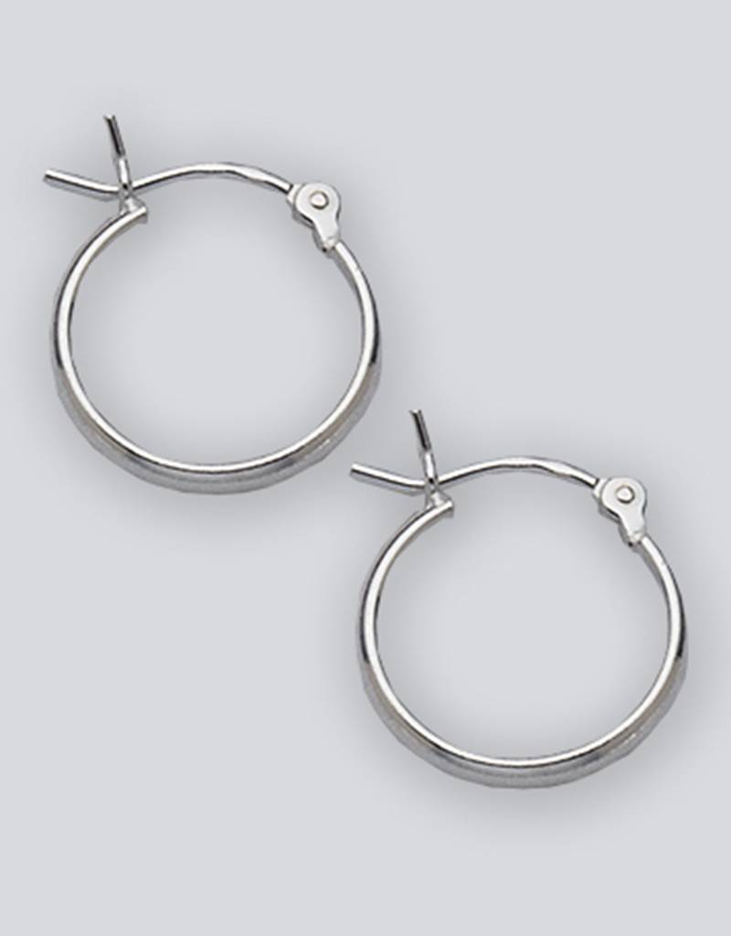 14mm 1/2 Round Plain Hoop Earrings