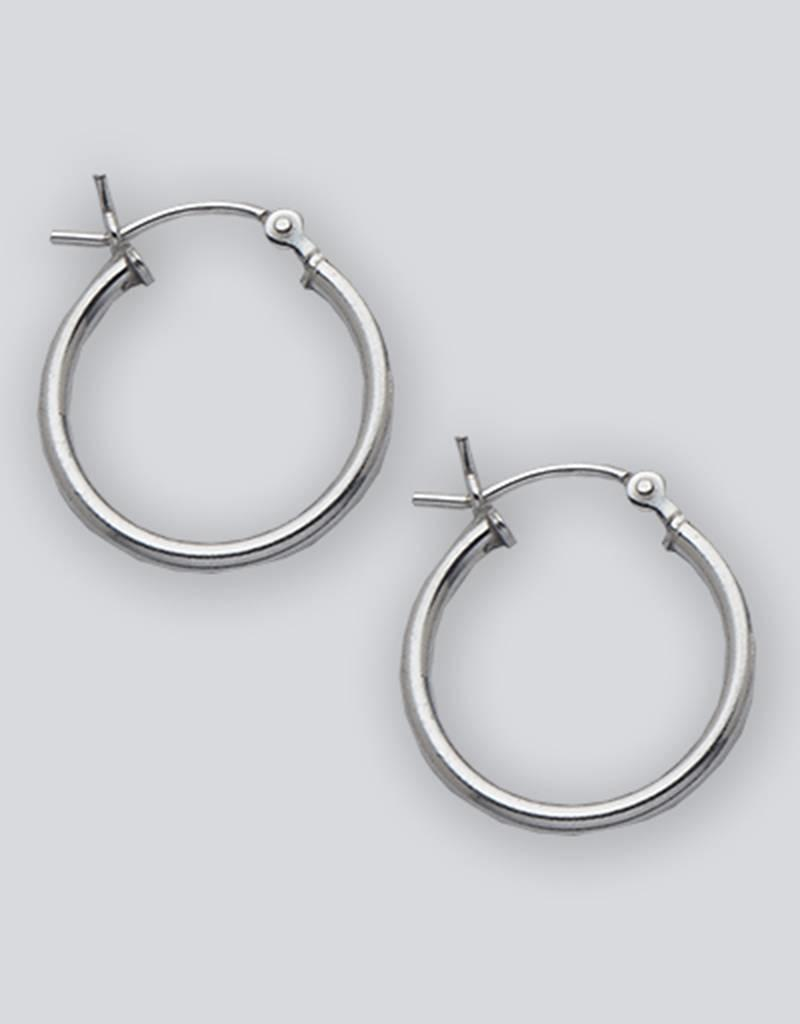 Sterling Silver Round Plain Hoop Earrings 18mm