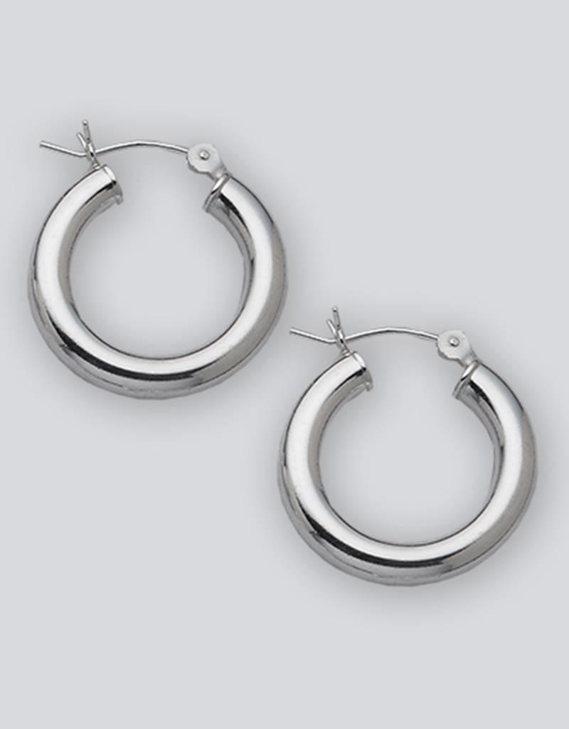 Sterling Silver Round Plain Hoop Earrings 23mm