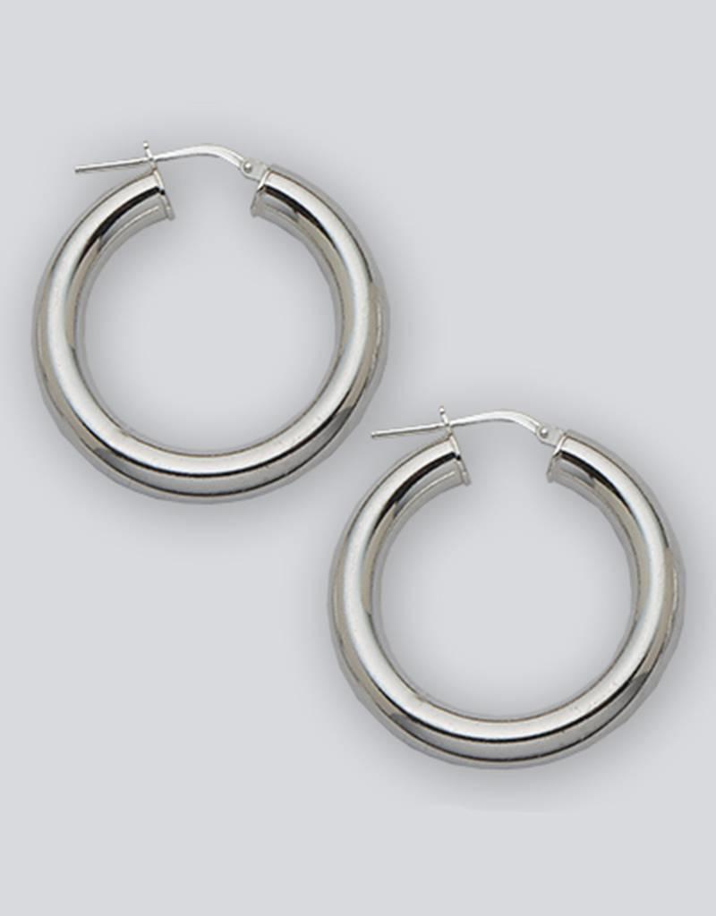 Sterling Silver Round Plain Hoop Earrings 30mm