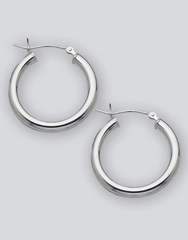Sterling Silver Round Hoop Earrings 22mm