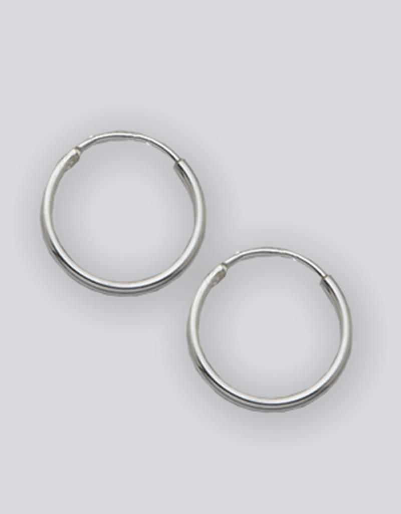 Sterling Silver Round Endless Hoop Earrings 12mm