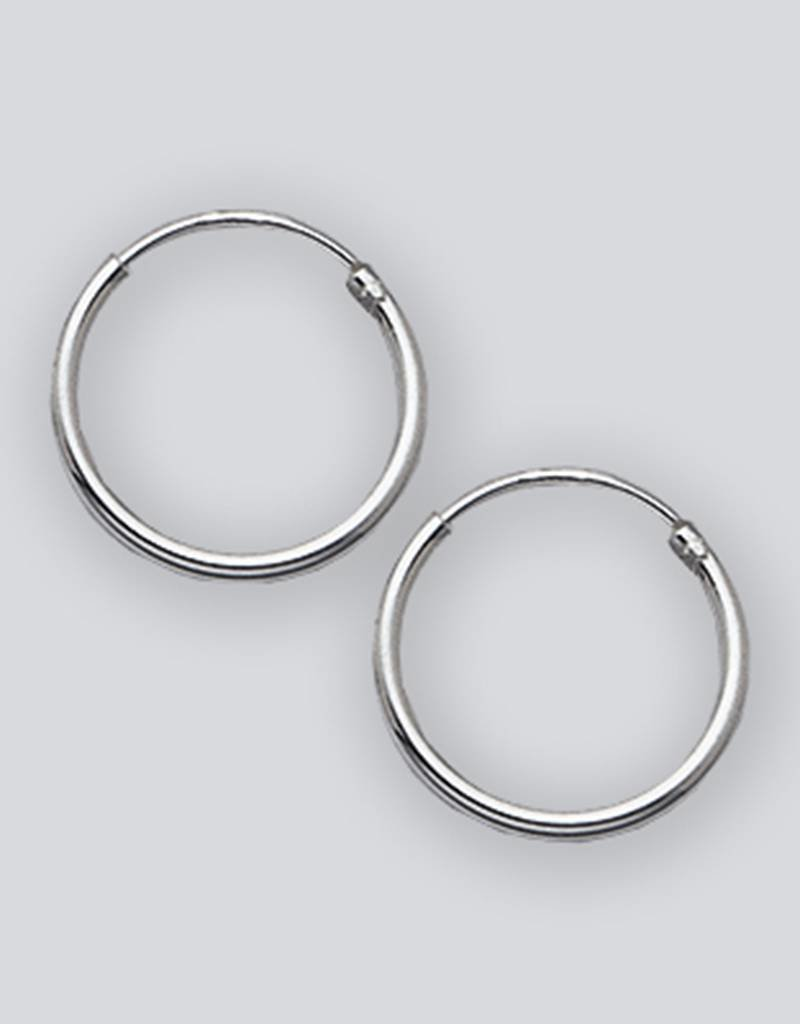 Sterling Silver round Endless Hoop Earrings 14mm