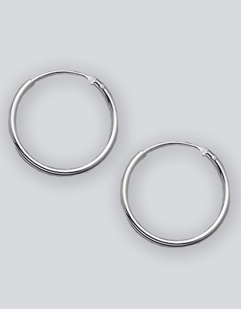 Sterling Silver Round Endless Hoop Earrings 16mm