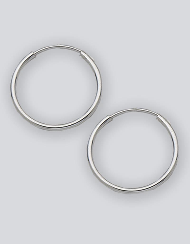 Sterling Silver round Endless Hoop Earrings 18mm