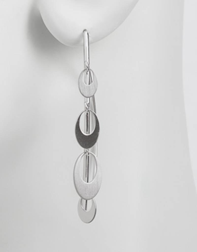 Sterling Silver Oval Dangles Wire Threader Earrings