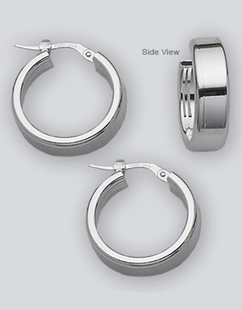 Sterling Silver Flat Plain Hoop Earrings 20mm