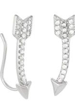 Sterling Silver Arrow Cubic Zirconia Ear Climber Earrings 21mm