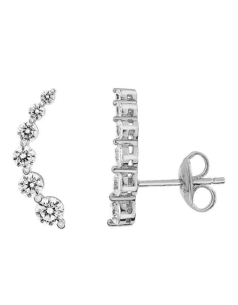 Curved Bar CZ Ear Climber 18mm