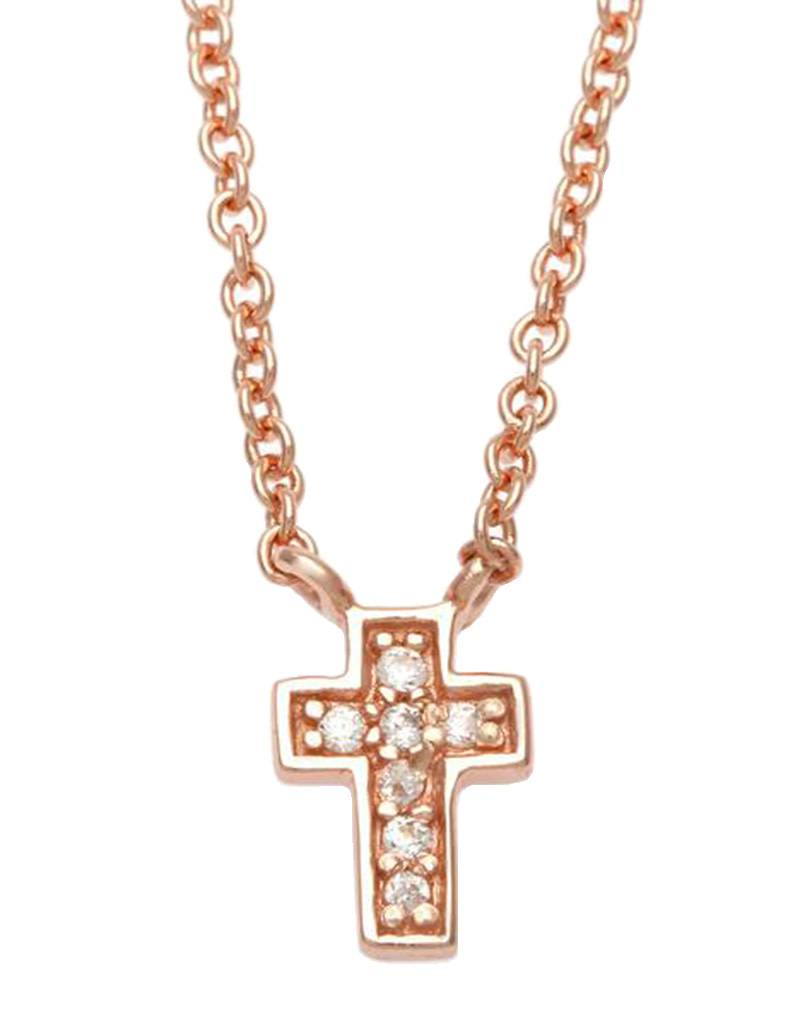 "Rose Gold Cross CZ Necklace 14""+2"""