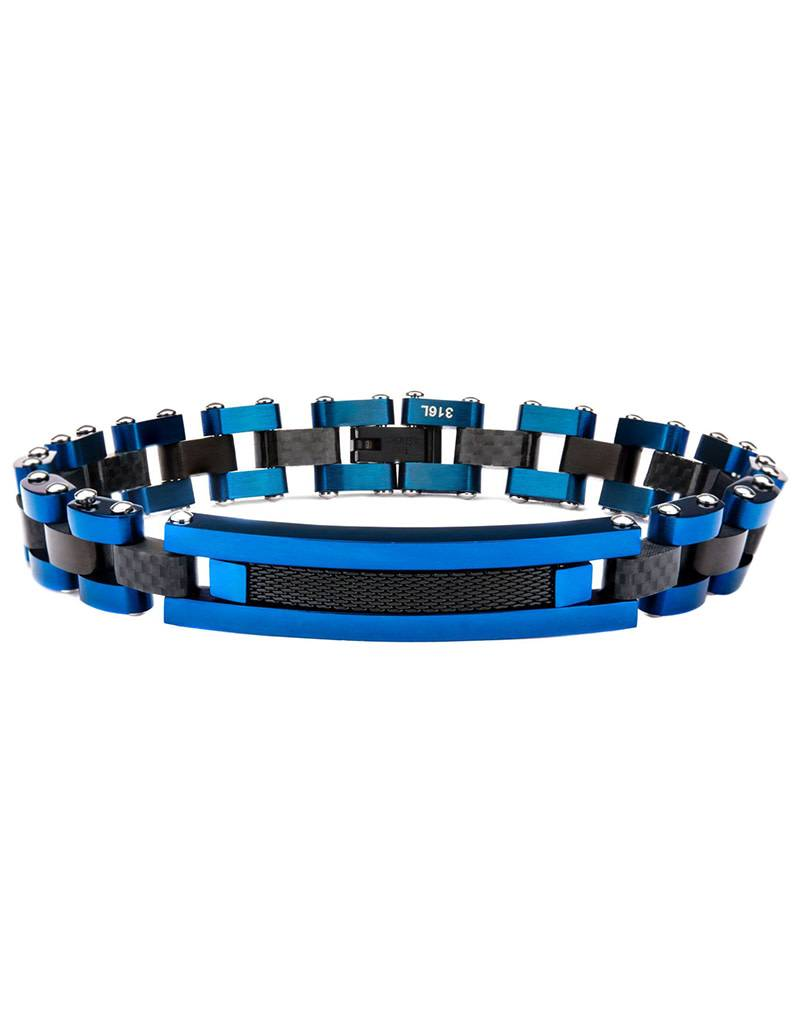 Black & Blue Steel ID Bracelet 8.5""