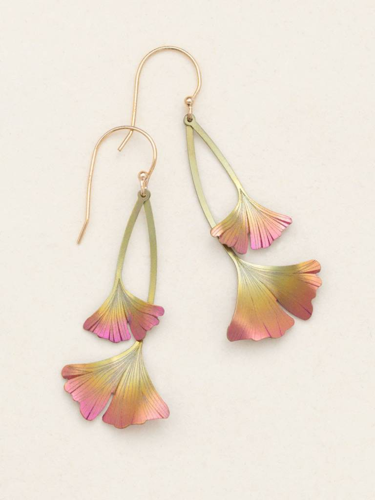 HOLLY YASHI Peach Ginkgo Drop Earrings *17452