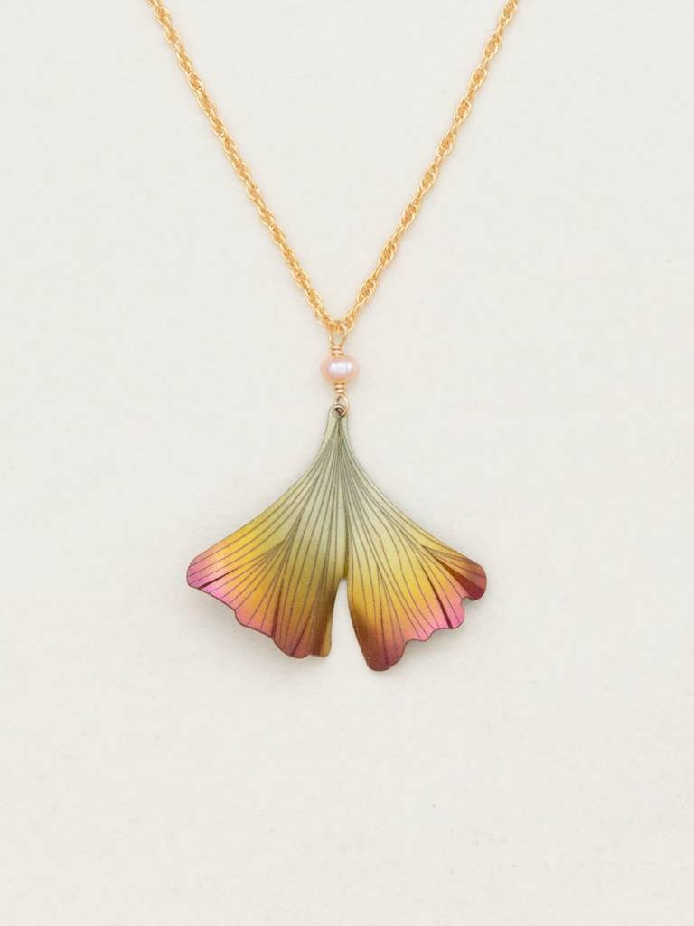 HOLLY YASHI Peach Ginkgo Pendant Necklace *17234