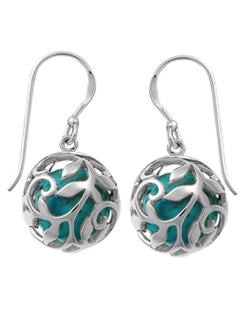 Vine Ball Turquoise Earrings 13mm