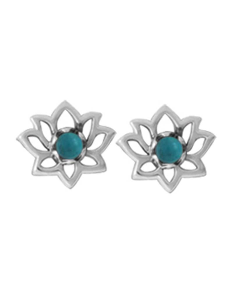 Lotus Turquoise Stud Earrings 9mm