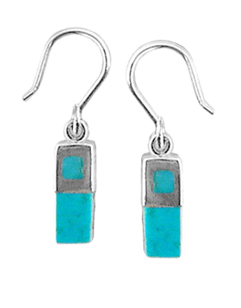 12mm Rectangle Turquoise Earrings