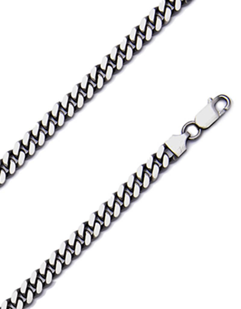 Sterling Silver Gunmetal Cuban 180 Chain Necklace