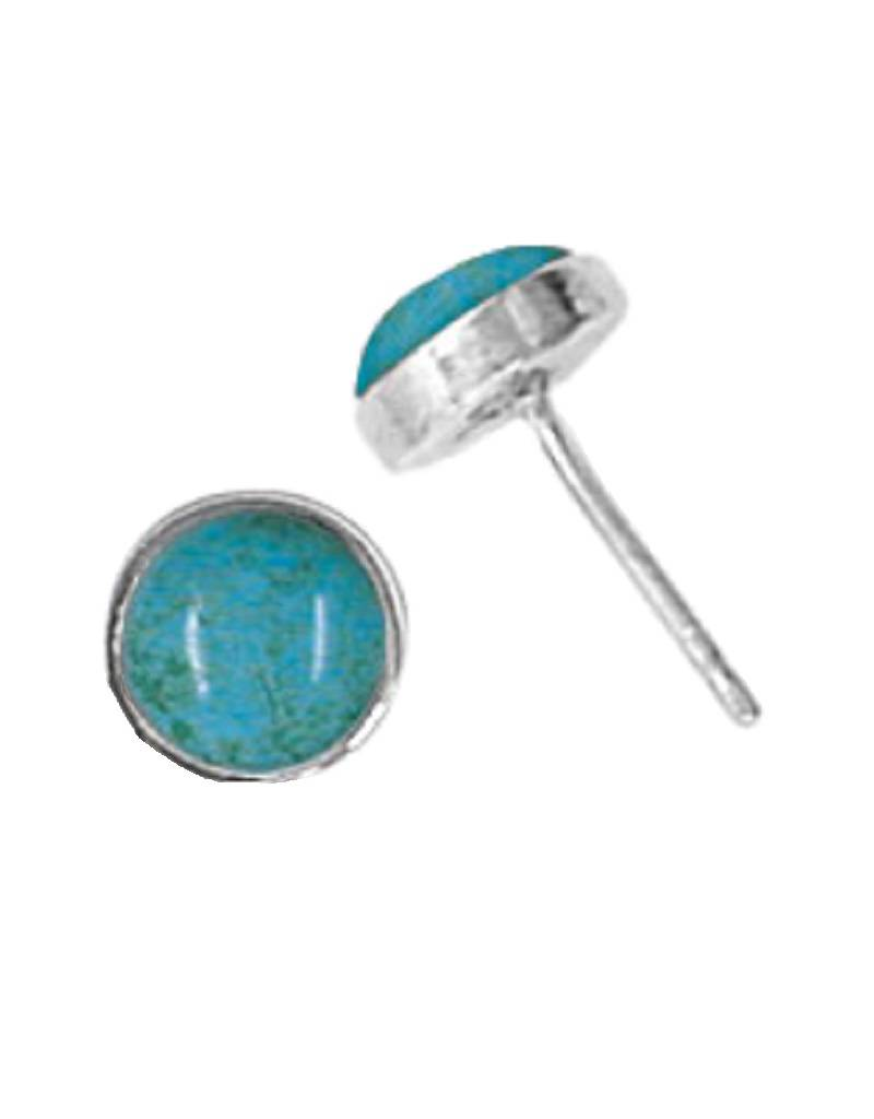 Round Turquoise Stud Earrings 7mm